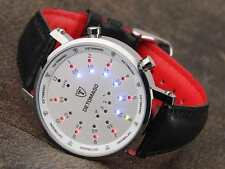 DETOMASO Spacy Timeline Mens Watch Binary LED Dislplay Stainless Steel New (44)