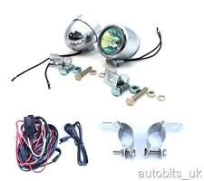 2x Bright Chrome Fog Spot Lights Motorcycle Car 4X4 58mm + Wiring + Brackets NEW