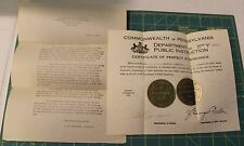 Pennsylvania Dept. of Public Instruction Perfect Attendance Certificate 1925