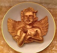 Porcelain Cherub Plate Gold Painted Angel