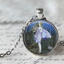 1pcs angel Cabochon Tibetan silver Glass Chain Pendant Necklace D#0221