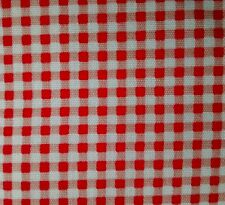 "Red / White gingham soft 100% cotton poplin fabric sold by the metre 60"" wide"