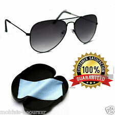 Aviator Grey Sunglasses Black Premium Quality For Men & Women FREE CASE