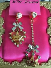 Betsey Johnson Vintage Ice Princess Lucite Heart Crown Crystal Mismatch Earrings