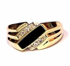 10k yellow gold mens onyx diamond ring .08ct 7.9g estate vintage antique gents