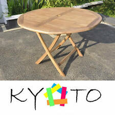 KYOTO PREMIUM TEAK 120cm ROUND FOLDING WOOD GARDEN BISTRO PICNIC TABLE FURNITURE