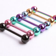 7pc 14G Surgical Steel Mixed Colour Barbell Bar Tongue Ring Stud Nipple Piercing