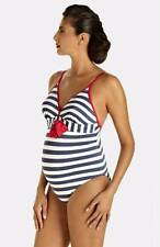 Pez D'Or Palm Springs One Piece Maternity Swimsuit Stripe Navy Blue/Red Small 6