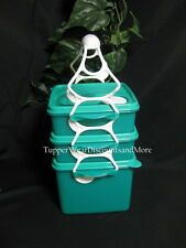 TUPPERWARE NEW Crystalwave Leftovers Microwave Goody Box Lunch Set Handle Green