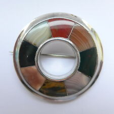 Quality Victorian Scottish Agate Brooch in Sterling Silver C.1870 Pebble Brooch