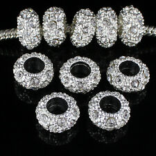 20pcs Clear Czech Crystal Big Hole Silver Charm Beads 11mm Fit European Bracelet