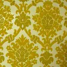 Rare 1970s Perfect Vintage Yellow Velour Velvet Flocked Wallpaper Damask Paisley