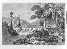 GUYANA GUYANE ANGLAISE CATARACTE WEINACHTS DESSIN DE BERARD GRAVURE IMAGE 1860