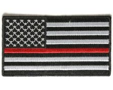 "(#N) RED LINE Subdued AMERICAN FLAG 3.5"" x 2"" iron on patch (4007) Firefighter"