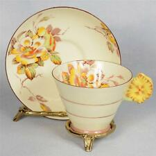 VINTAGE STAR PARAGON TEACUP & SAUCER WITH FLOWER HANDLE