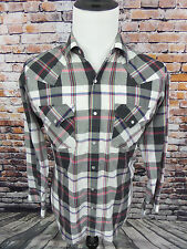 VTG Men's Ely Cattleman LS Plaid Pearl Snaps Cowboy Western Shirt Size M Medium
