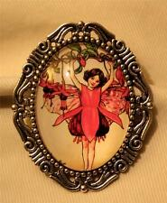 Lovely Festoon Silvertone Red Flower Petals Skirted Fairy Cameo Shiny Brooch Pin