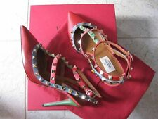 Valentino AUTH Rockstud 100 MM Leather T-Straps Heels 39 Red Blue Pink Green