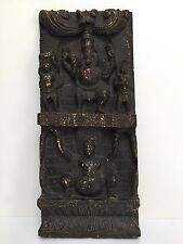 Exquisite Vintage Handmade Wood Carving Sculpture Hindu God Ganesha Wall Panel