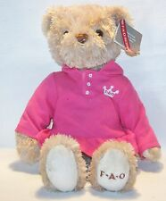 FAO Schwarz Girl Bear dressed in Pink Polo Dress Shirt plush stuffed animal  14""