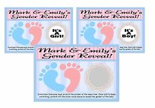 BABY GENDER REVEAL UNISEX FOOTPRINTS SCRATCH OFF OFFS & PARTY GAMES CARDS FAVORS