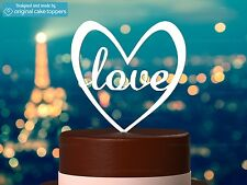 """""""Love"""" Heart Shapped - White - Wedding Cake Topper - Made by OriginalCakeToppers"""