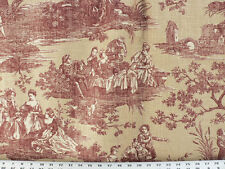 Drapery Upholstery Fabric Blended Cotton Linen-Look Toile - Maroon / Ivory / Tan