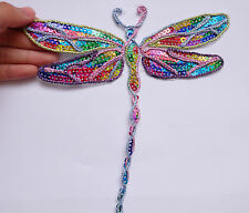 Dragonfly patch sequin applique iron on hotfix sew on damselfly UK seller