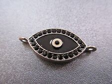 Silver Tone Evil Eye Rhinestone Spacer Connector 1pc