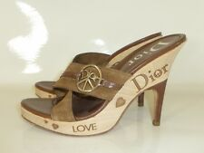 CHRISTIAN DIOR - BEIGE SUEDE SLIP ON PLATFORM LOVE CLOGS - SIZE 39 6