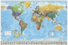 WORLD MAP Poster - MAP Full Size 24x36 Inch Print ~ Flag Index & Capital Cities