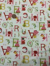 100% Cotton Quilt Craft Fabric By 1/2 Mtr Lecien Japan Kids Red Pink ABC Cream