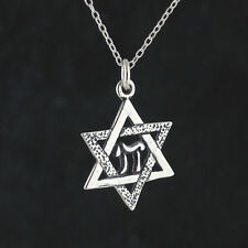 Star of David with Chai Necklace - 925 Sterling Silver - Pendant Jewish Gift NEW