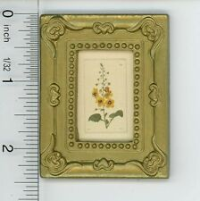 Dollhouse Miniature Gold Framed Picture of a Flower