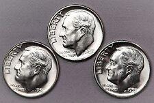 1955-P+D+S 10C Roosevelt Dime Silver U.S. Mint Coins, 3 Coin Lot (L23) LZ