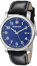 Wenger Swiss 71003 Blue Luminous Dial Black Leather Strap Date Watch NWT