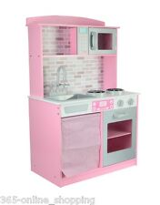 Large Big Kids Childrens Pink Girls Role Wooden Play Kitchen Pretend Cooking