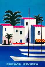 Art Ad French Riviera  Colourful Travel  Deco  Poster Print