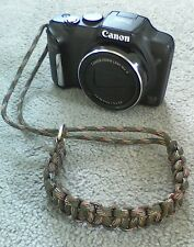 Paracord CAMERA to WRIST STRAP *Hand woven in UK* LANYARD FOREST GREEN CAMO