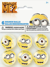 DESPICABLE ME 2 BOUNCE BALLS (6) ~ Birthday Party Supplies Minions Favors Bouncy
