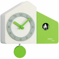 AMS Quarz Wanduhr Pendeluhr Kuckucksuhr Holzgehäuse weiß grün Neu