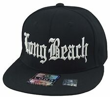 NEW LONG BEACH 3D EMBROIDERY TRENDY FLAT BILL SNAPBACK CAP HIP HOP HAT BLACK