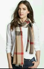$395 ! Burberry Check Wool & Cashmere Scarf #605