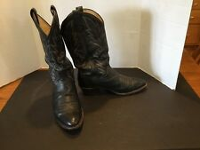 Mens Dan Post Black Leather Cowboy Boots Size 8-1/2 Extra Wide 8.5