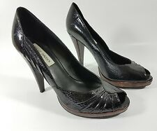 Steve Madden black patent leather open toe high heel shoes uk 6 eu 39