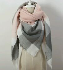Triangle Pink/Grey Scarf Winter Shawl Pashmina Cape Blanket Plaid Foulard