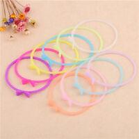 10pcs Women Silicone Rubber Glow Bracelet Cuff Wristband Wrist Band Bangle
