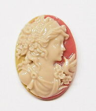 6 of 25x18 mm Shell Color Victorian Art Deco w/Bird Classic Grecian Woman Cameos