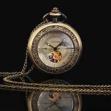 Men's Vintage Bronze Steampunk Skeleton Stainless Steel Mechanical Pocket Watch