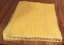 Crocheted Yellow and white baby blanket with matching hat (handcrafted)